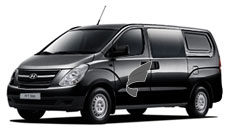 Hyundai H1----The Hyundai H-1 is the perfect vehicle to fulfill both business and leisure roles with its 9 person seating structure and powerful engine.